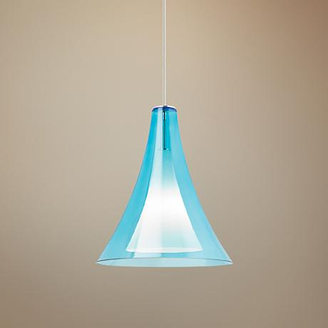 "Melrose II Grande 16"" W Aqua Blue Pendant Light"