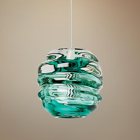 "Tech Lighting Audra 5 1/2""W Green Glass Mini Pendant"