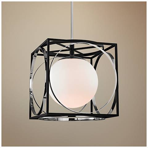 "Wadsworth 17 3/4"" Wide Nickel and Black Pendant Light"