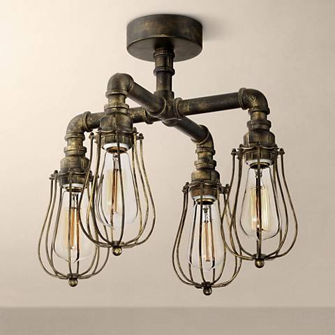 "Galena 17"" Wide 4-Light Golden Bronze Pipe Ceiling Light"