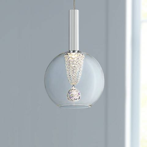 "Possini Euro Ritzville 7"" Wide Chrome LED Mini Pendant"