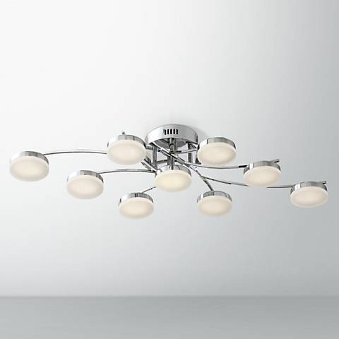 "Possini Euro Ellipse 38 1/2"" Wide Chrome 9-LED Ceiling Light"