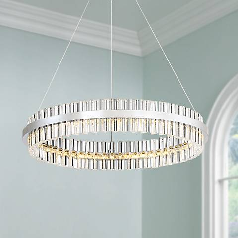 "Carlyle 23 3/4"" Wide Chrome and Crystal LED Pendant Light"