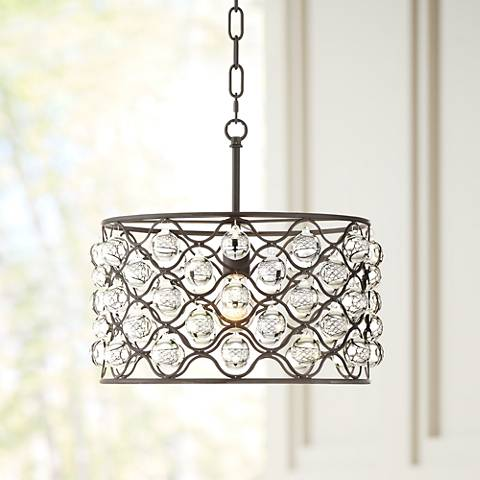 "St. Ignace 15 3/4"" Wide Black Metal Pendant Light"