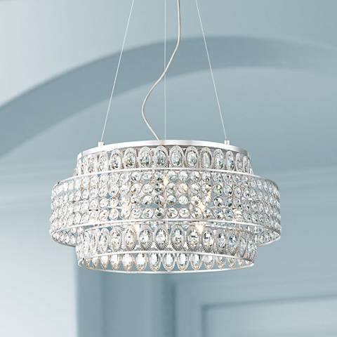 "Possini Euro Felicitas 20"" Wide LED Crystal Pendant Light"