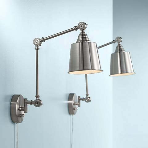 Mendes Brushed Steel Plug-In Wall Lamp Set of 2