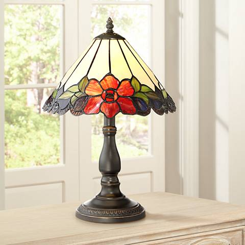 "Robert Louis Tiffany 17 1/2"" High Dyann Flower Table Lamp"