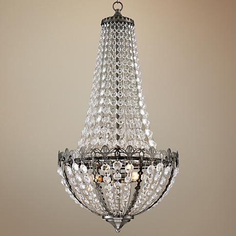 "Gayle Antique Nickel 16 1/2"" Wide Crystal Chandelier"