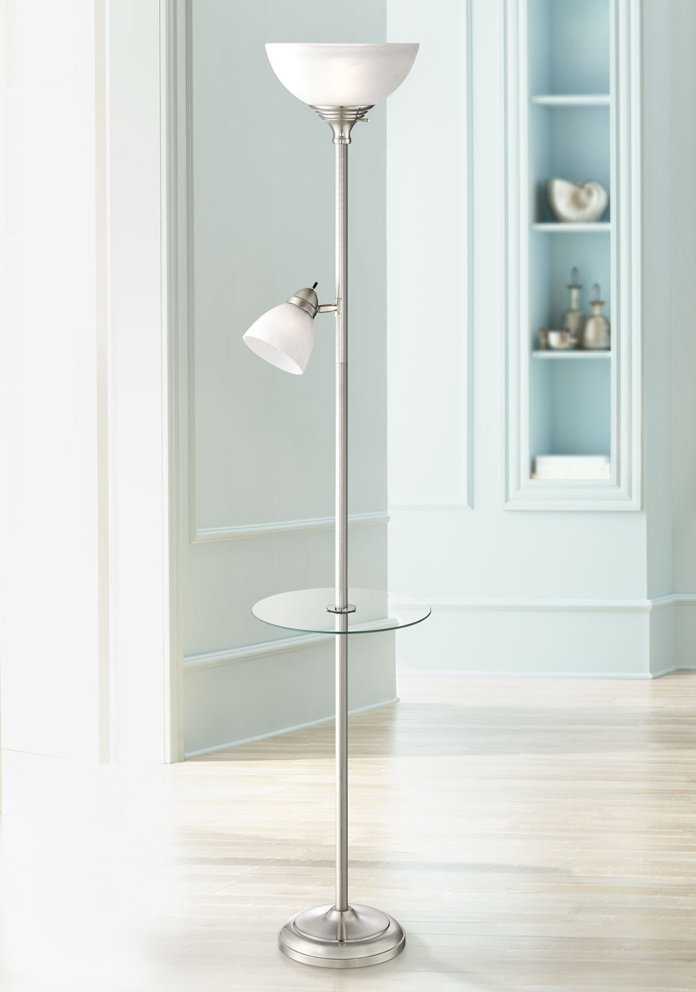 london torchiere floor lamp with table and reading light