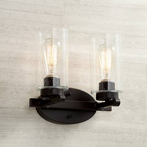 "Holman Bronze 2-Light 10 3/4"" High Industrial Wall Sconce"