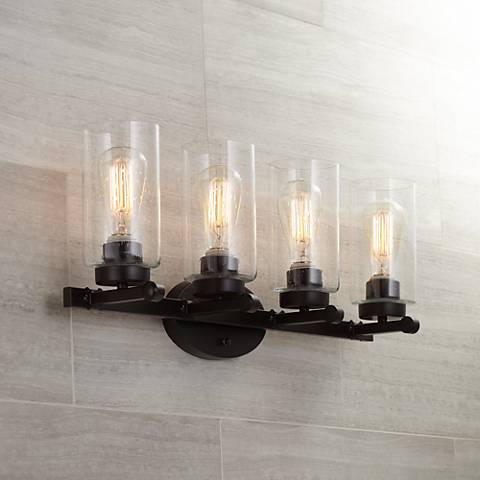 "Holman Bronze 27 1/4"" Wide Industrial 4-Light Bath Light"