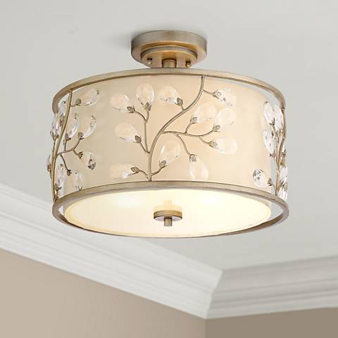"Crystal Buds 16"" Wide Antique Silver Drum Ceiling Light"