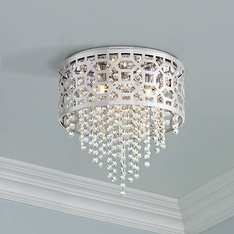 "Possini Euro Contemp 12 3/4"" Wide Chrome Ceiling Light"