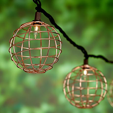 Copper Patio String Lights : 10-Light Copper Wire Ball Indoor/Outdoor String Light Set - #9K477 Lamps Plus