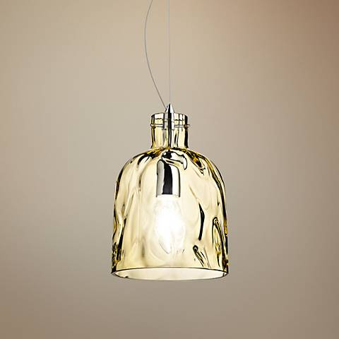 "Eurofase Ponti 6"" Wide Chrome and Amber Glass Mini Pendant"