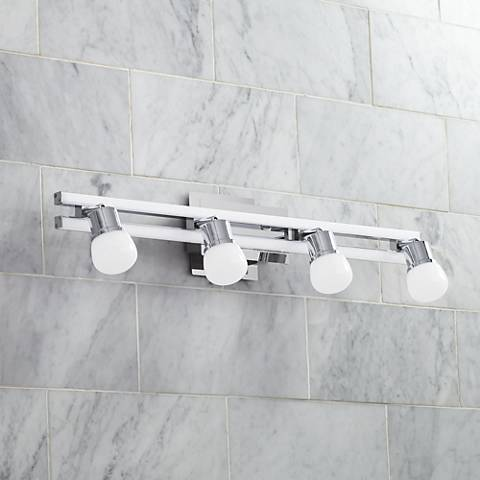 "Possini Euro Bandeaux 25 3/4""W 4-Light Chrome LED Bath Light"