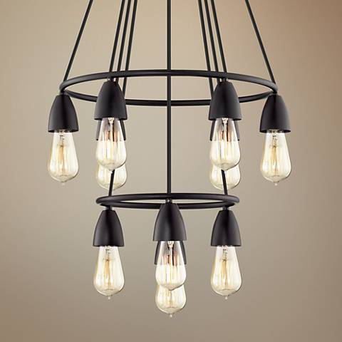 "Rawlings 17"" Wide Black 10-Light Edison Bulb Chandelier"