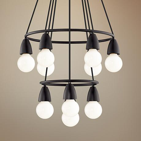 "Rawlings 17"" Wide Black 10-Light White Globe Chandelier"