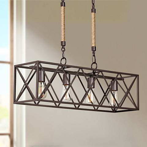 "Barron 29 1/4"" Wide 4-Light Coffee Bronze Island Chandelier"