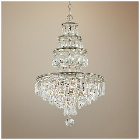"Athena 18"" Wide Silver Leaf Chandelier"
