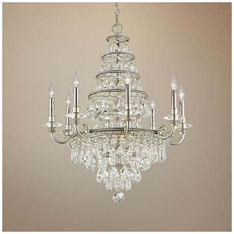 "Athena 29 1/2"" Wide Silver Leaf Chandelier"