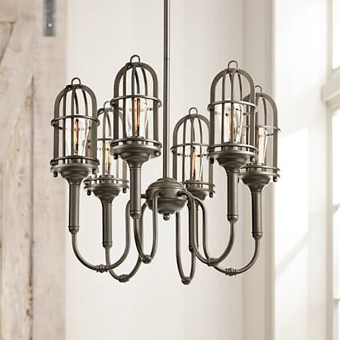 "Pittman 23 1/2"" Wide 6-Light Industrial Bronze Chandelier"