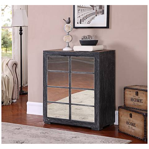 Carson Hand-Painted Textured Wood Mirrored 2-Door Cabinet