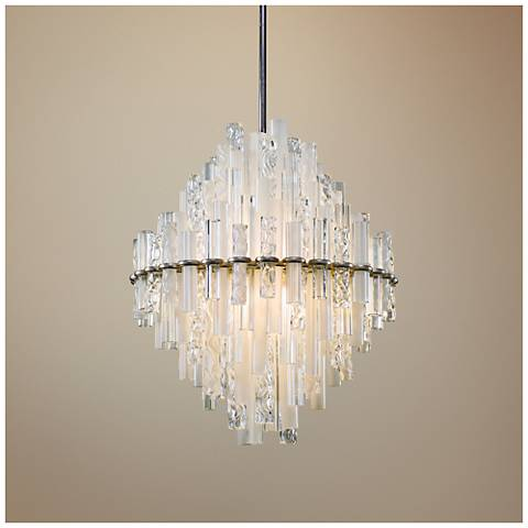 "Manhattan 27"" Wide Satin Silver Leaf LED Pendant Light"