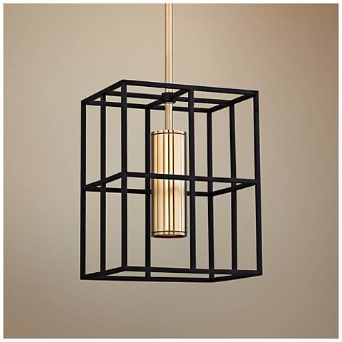 "Lagrange 9 1/2"" Wide Aged Brass and Black Mini Pendant"