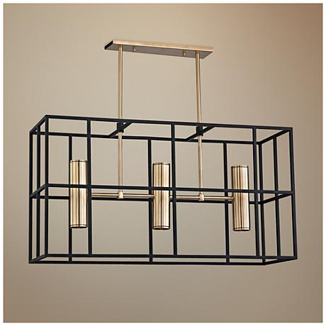"Lagrange 13 3/4"" Wide Aged Brass and Black Island Pendant"