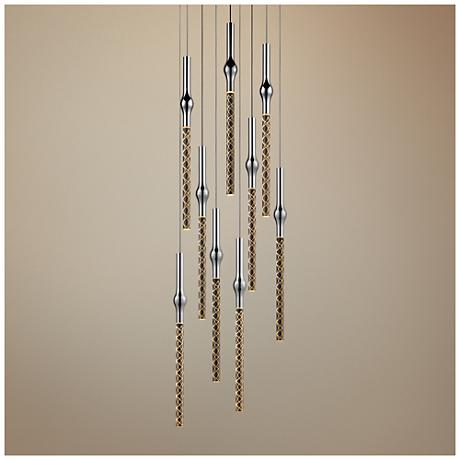 "Rain 11 1/4"" Wide Polished Chrome LED Multi Light Pendant"
