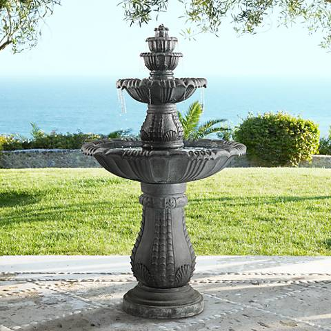Hampton 56 3 4 Quot High Slate 4 Tier Led Outdoor Floor