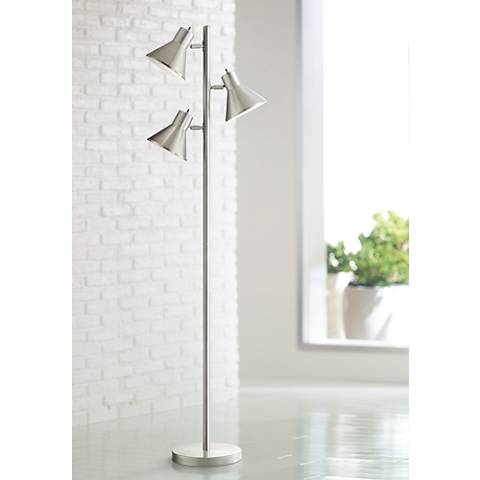 Luken Brushed Steel 3-Light Tree Floor Lamp