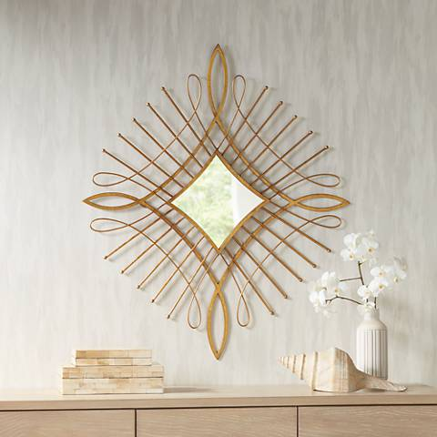 "Mailli Gold Wire 31 1/2"" x 36 1/2"" Diamond Wall Mirror"