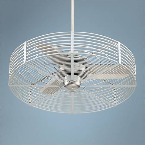 "32"" Vintage Breeze Brushed Steel - Silver Cage Ceiling Fan"