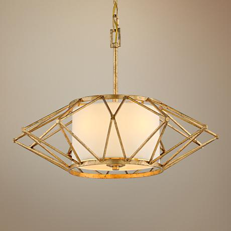 "Calliope 26"" Wide Rustic Gold Leaf Pendant Light"