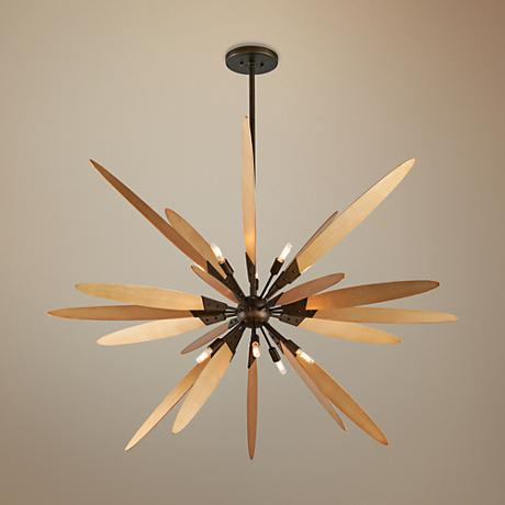 "Dragonfly 60"" Wide Bronze with Satin Leaf Pendant Light"