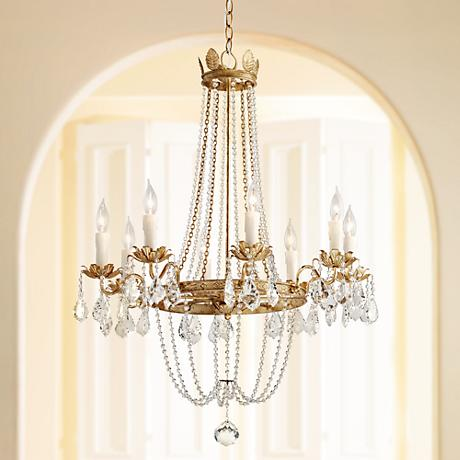 "Viola 27 1/2"" Wide Distressed Gold Leaf Chandelier"