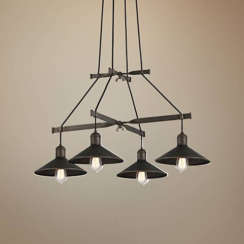 "Troy Lighting McCoy 34"" Wide Vintage Bronze Pendant Light"