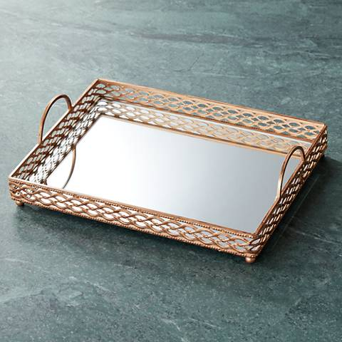 "Magot 18"" Wide Antique Gold Mirrored Tray"