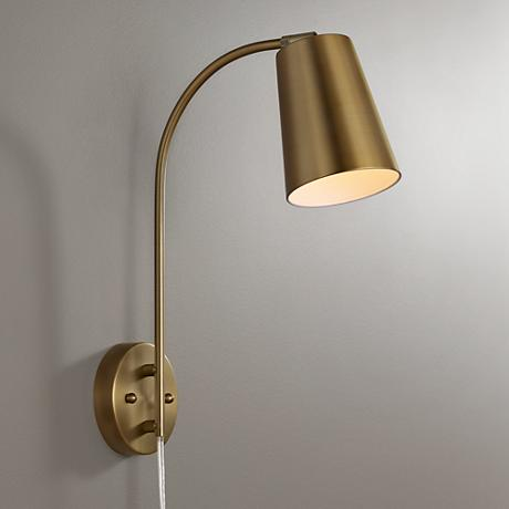 sully warm brass plug in wall lamp 9p579. Black Bedroom Furniture Sets. Home Design Ideas