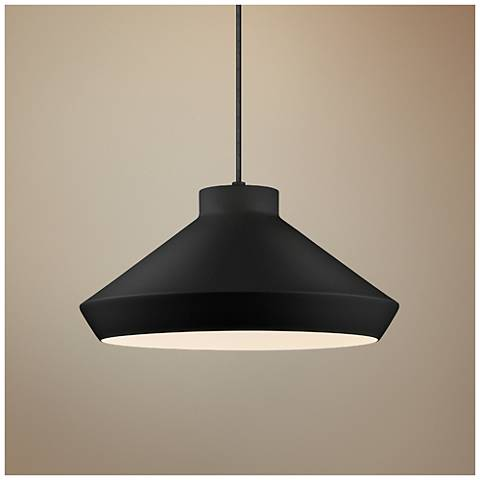 "Sonneman Koma 15"" Wide Satin Black LED Pendant Light"