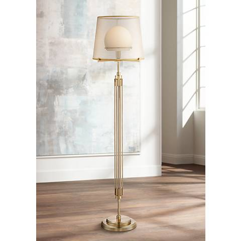 Possini Euro Phileas Antique Brass Floor Lamp