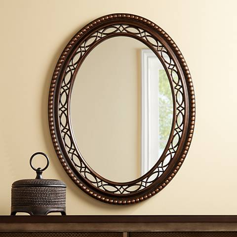 "Brookview Antique Wood 28"" x 36 1/2"" Oval Wall Mirror"