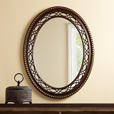 "Brookview Antique Wood 27 3/4"" x 36"" Oval Wall Mirror"