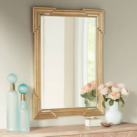 "Farrell Gold 30"" x 40"" Beveled Wall Mirror"