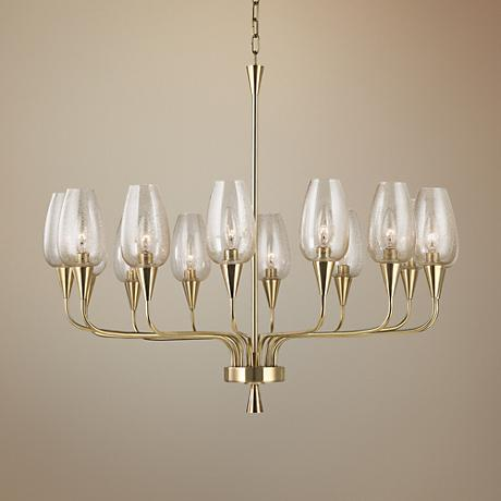 "Hudson Valley Longmont 32 1/4"" Wide Aged Brass Chandelier"