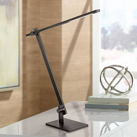 Possini Euro Barrett Anodized Black LED Desk Lamp