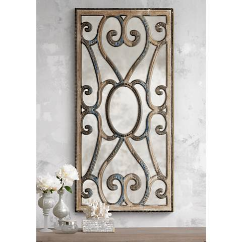 "Uttermost Rosalind Taupe 24"" x 48"" Wood Wall Mirror"