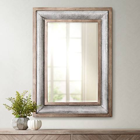 "Uttermost Selden Galvanized Steel 33 x 45"" Wall Mirror"